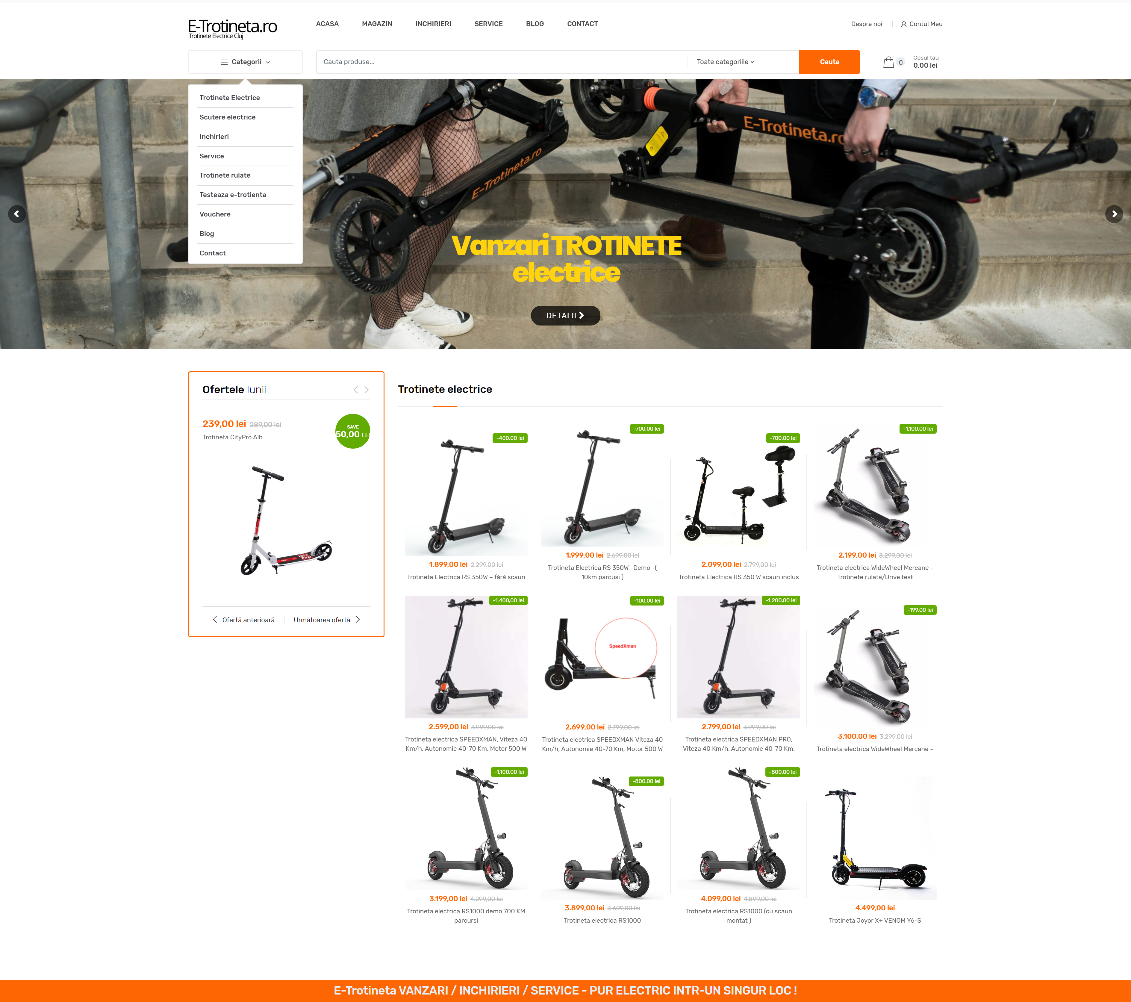Vanzari Inchirieri Service – Trotinete si Biciclete electrice – E-Trotineta ro